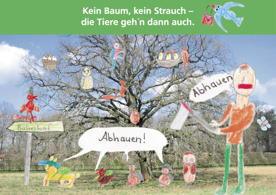 Protestkarte der Klasse 2c der Gesamtschule Wilhelmsburg gegen die Baumfällungen der igs