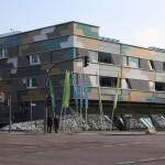 """Das als Festung daher kommende """"hybrid-house"""", ein IBA-Projekt und bis Ende der igs deren Geschäftstelle"""